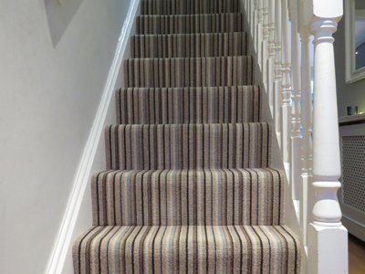 Striped carpets are in right now and come in gorgeous designs and colours. They look striking on the stairs, in hallways and as runners and will lengthen any space. Striped carpet ranges often include co-ordinating plains.